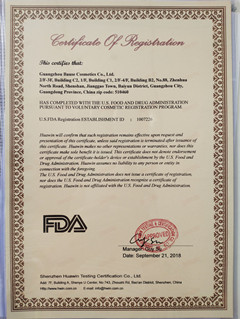 FDA Certification of Bause Cosmetics