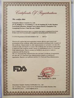 FDA certificate of Bause Cosmetics